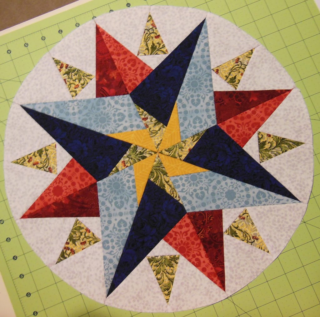 paper foundation piecing a mariners compass quilt block