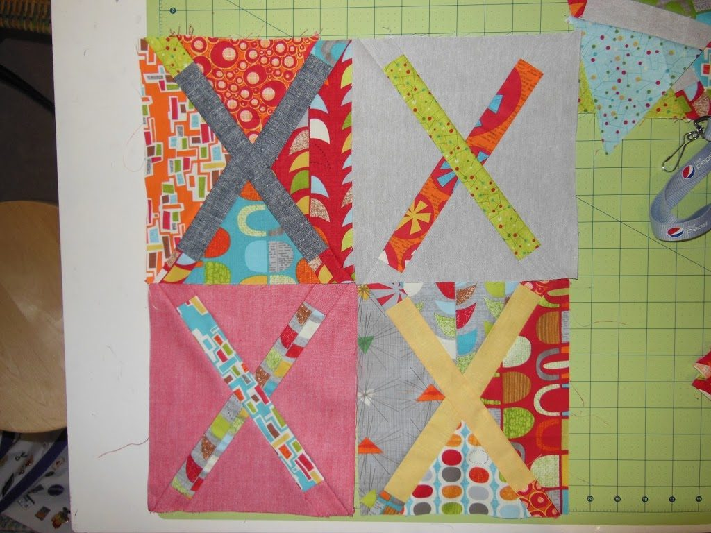 treasure map quilt by Sharon McConnell for color girl quilts, modern cross quilt