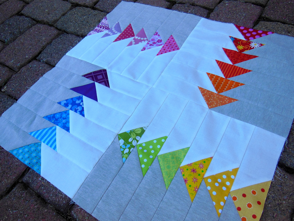 Modern Mini Quilt Basting And Quilting Color Girl