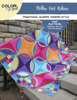 Polka Dot Bikini quilt pattern by Color Girl Quilts, Sharon McConnell. Modern Curved Piecing, Double wedding ring style quilt
