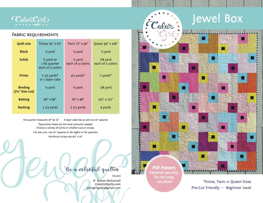 jewel box layer cake quilt pattern by color girl quilts