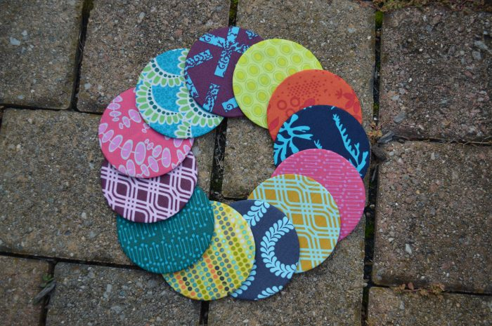 bright color scrap quilt, circles quilt by Sharon McConnell for Color Girl