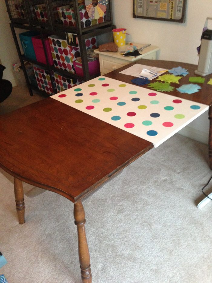 paint chip mod podge craft, making a new table leaf