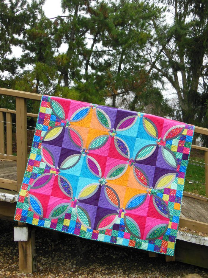 Polka Dot Bikini Quilt, modern wedding ring quilt, by Sharon McConnell