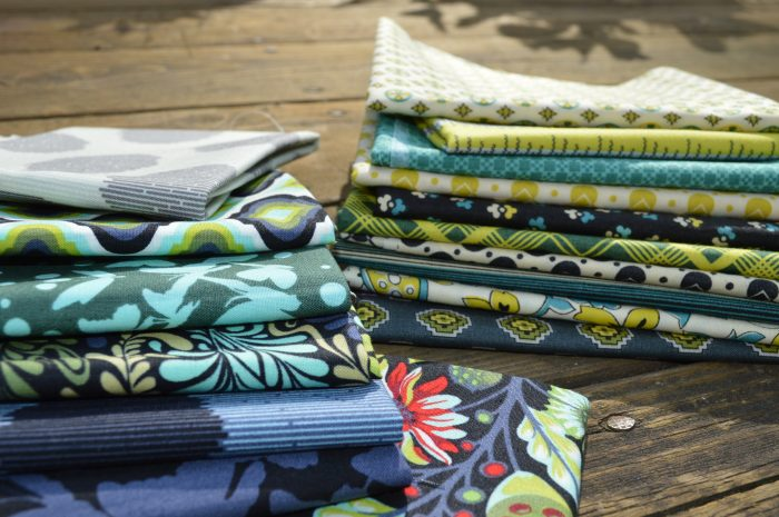 choosing color, fabric for quilt, blue and green quilt
