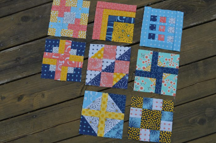 Modern sampler blocks by Sharon McConnell, modern quilting squares