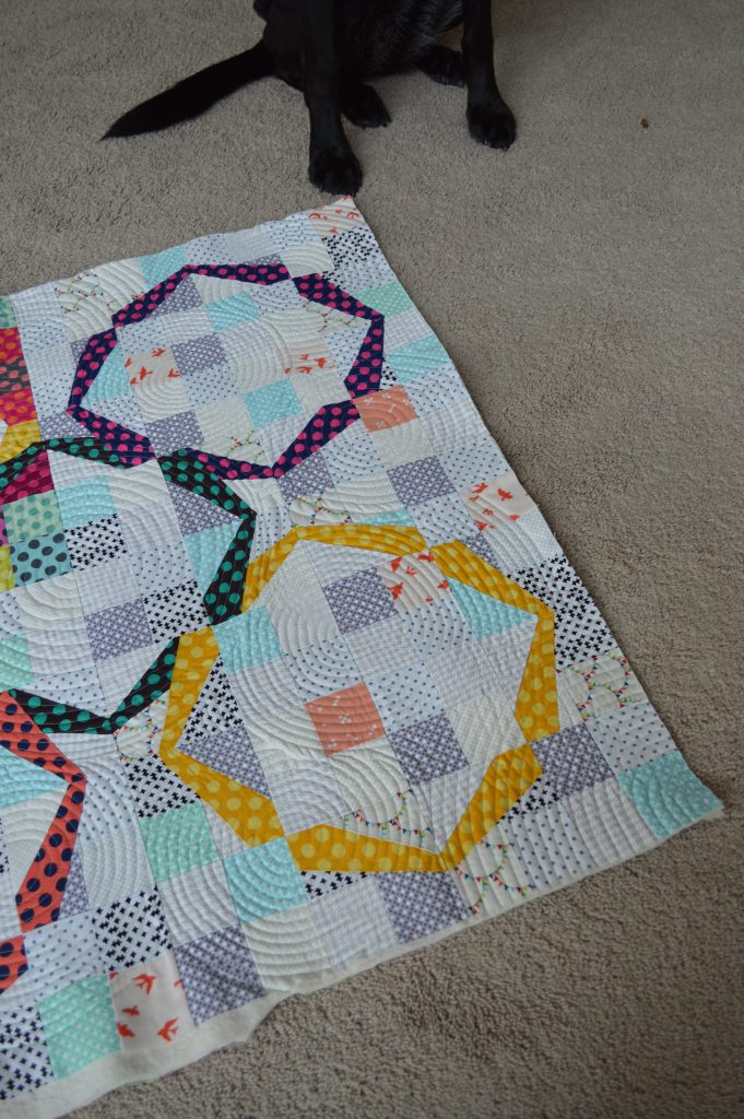 Hula Girl Quilt by Sharon McConnell, modern ring quilt, paper piecing