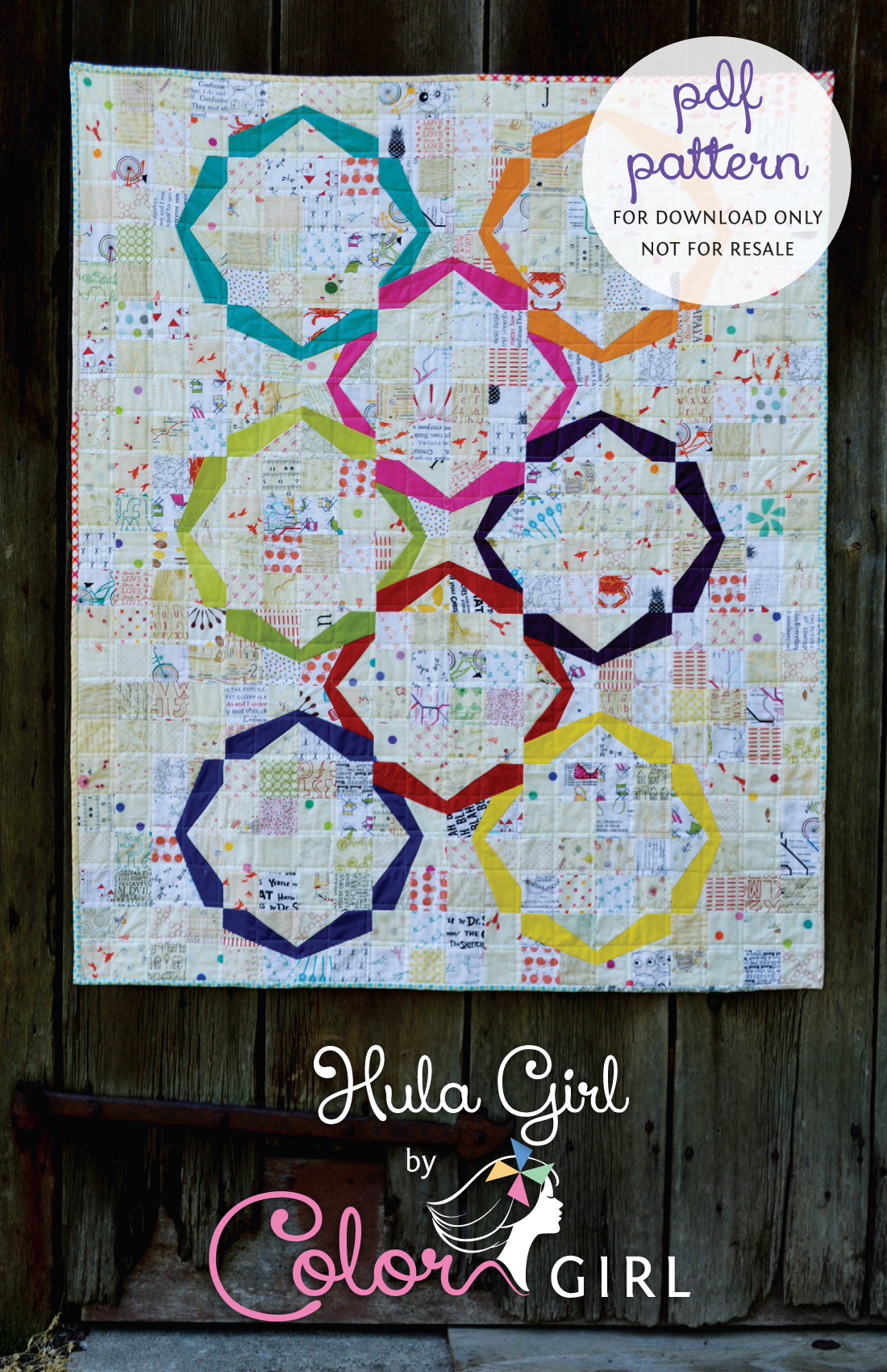 Hula Girl quilt patternBeginner paper foundation pieced quilt pattern with low volume fabrics and scraps
