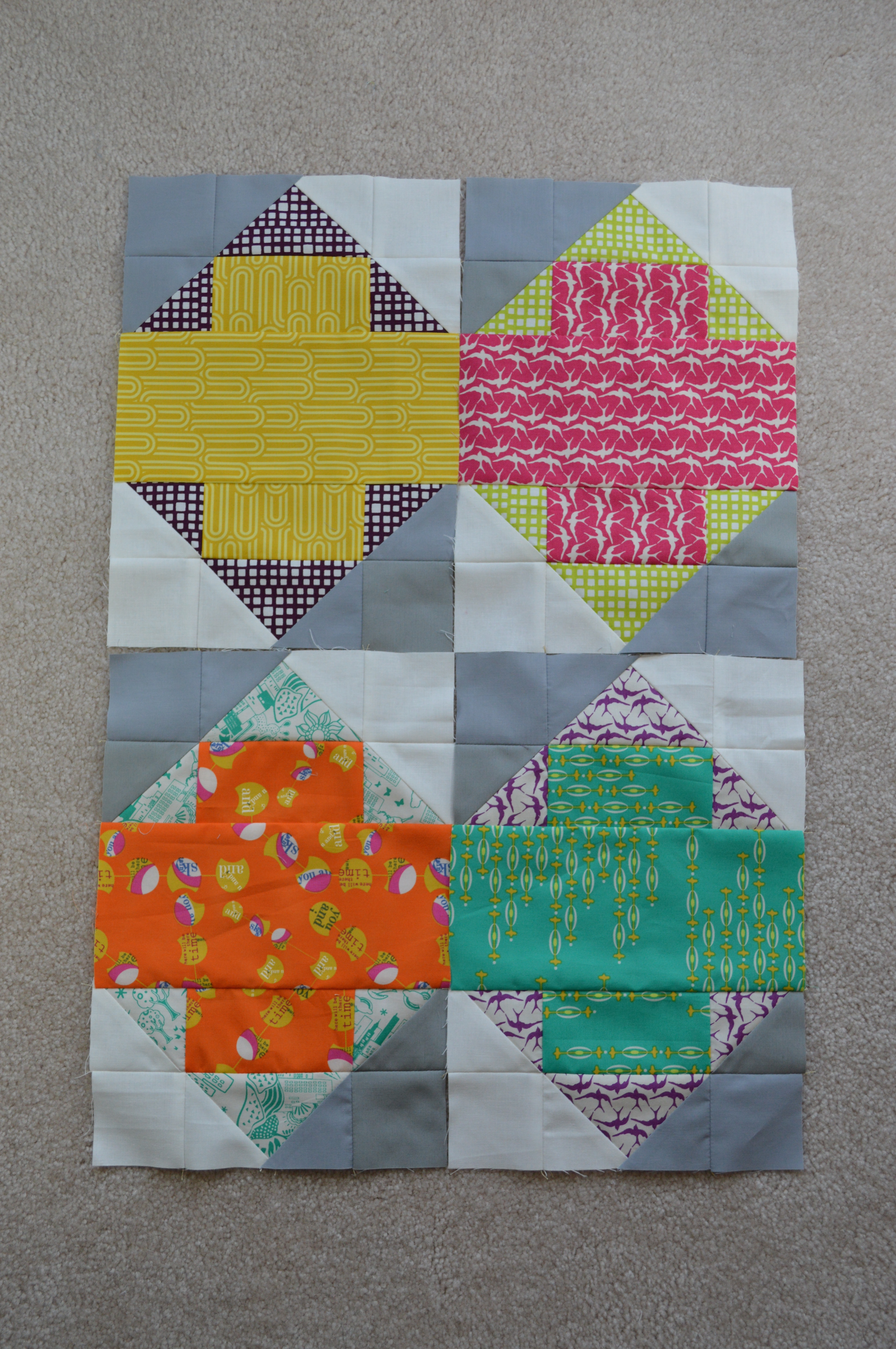 cross patchwork blocks by Sharon McConnell, with Utopia Fabric by Art Gallery fabrics