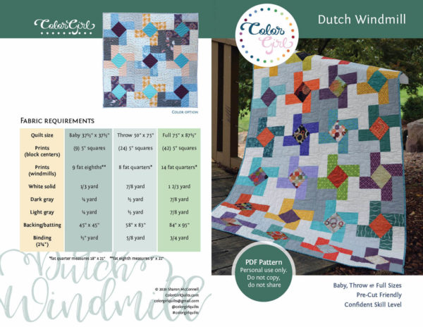 Dutch Windmill pattern by Color Girl Quilts