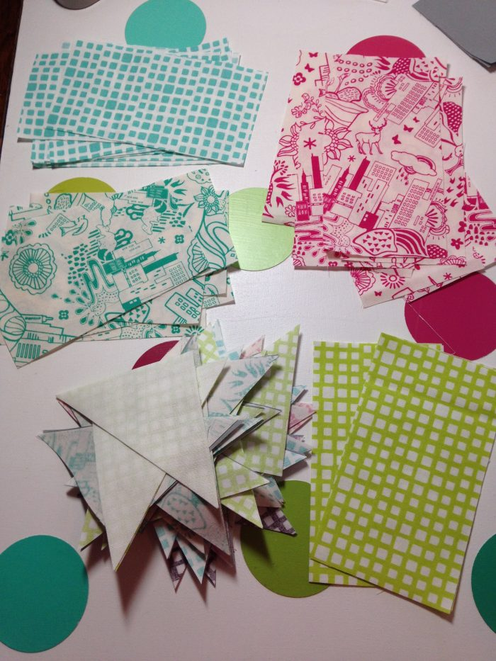 patchwork blocks by Sharon McConnell, with Utopia Fabric by Art Gallery fabrics