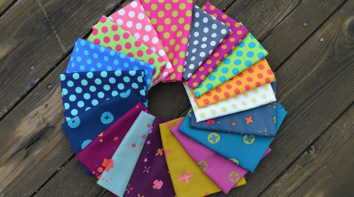 how to mix fabric prints for quilt, handstamped by Alioson Glass with polka dot fabrics by Michael Miller fabrics