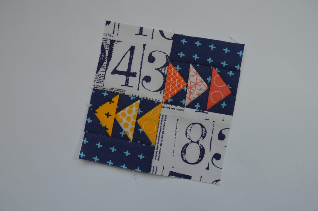 Super Simple Sampler six inch modern quilt block with flying geese