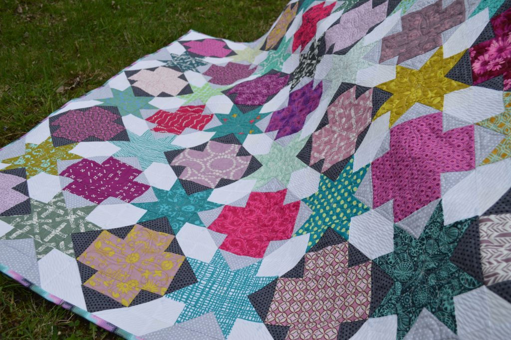 Star Cross modern patchwork quilt pattern, beginner quilt pattern