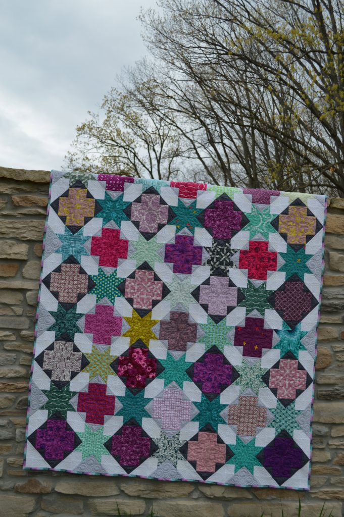 Star Cross modern patchwork quilt pattern, beginner quilt pattern with scraps and stars