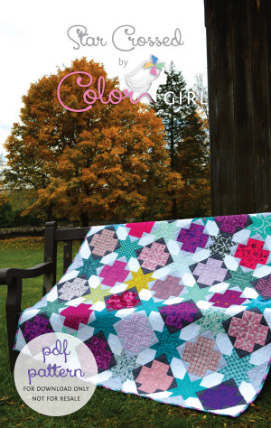 Star Crossed quilt pattern, modern patchwork quilt by Sharon McConnell with stars and crosses, scrappy fabric