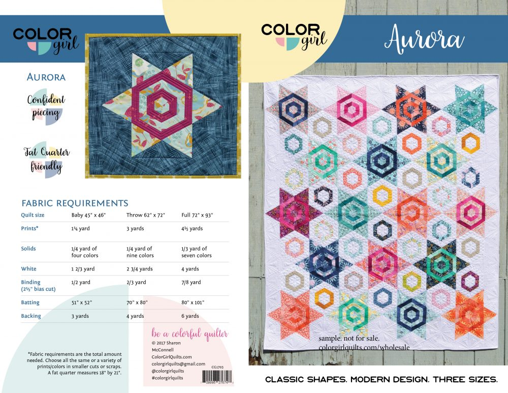Aurora quilt pattern cover, modern hexagon star quilt