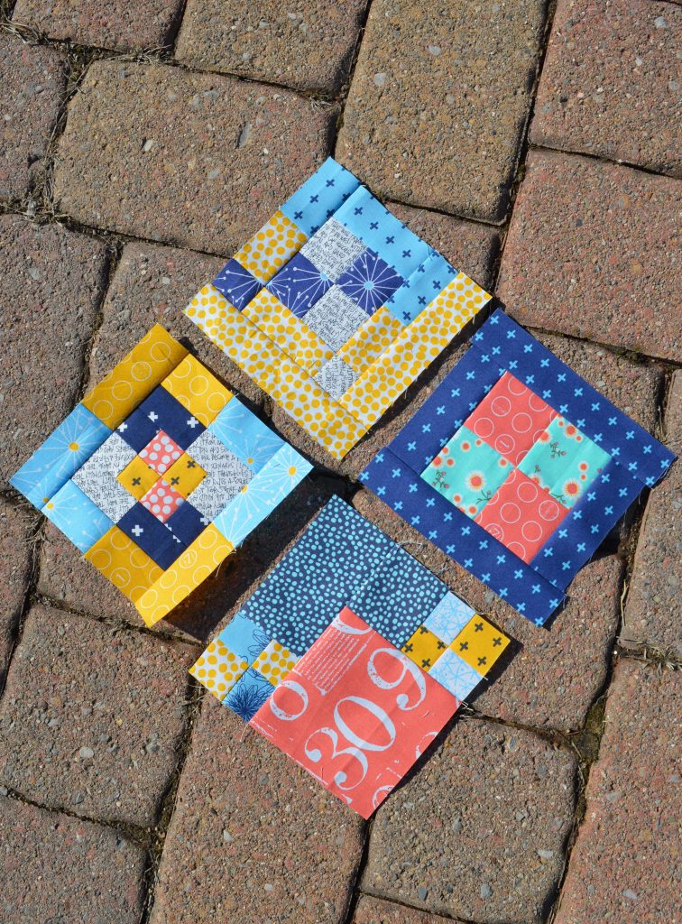 Tula Pink City Sampler quilt blocks with moda fabrics by Zen Chic