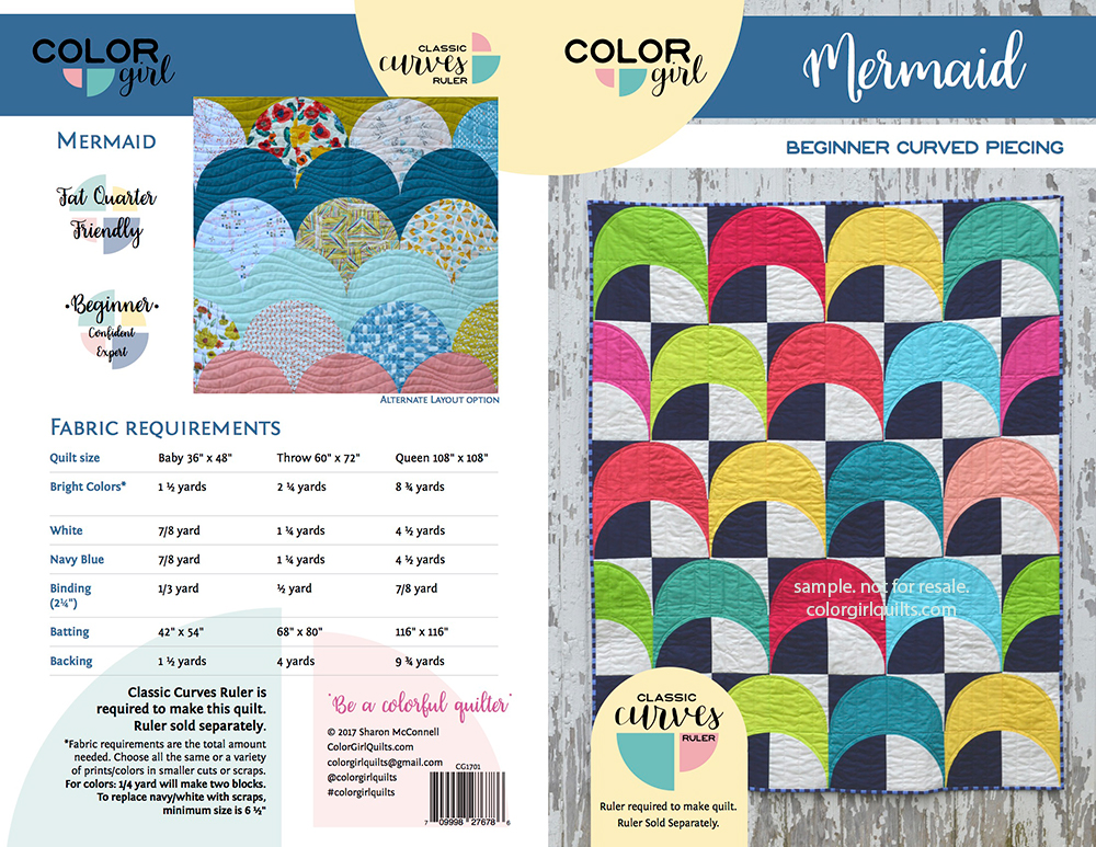 Mermaid quilt pattern cover, curved piecing by Color Girl Quilts with the Classic Curves Ruler