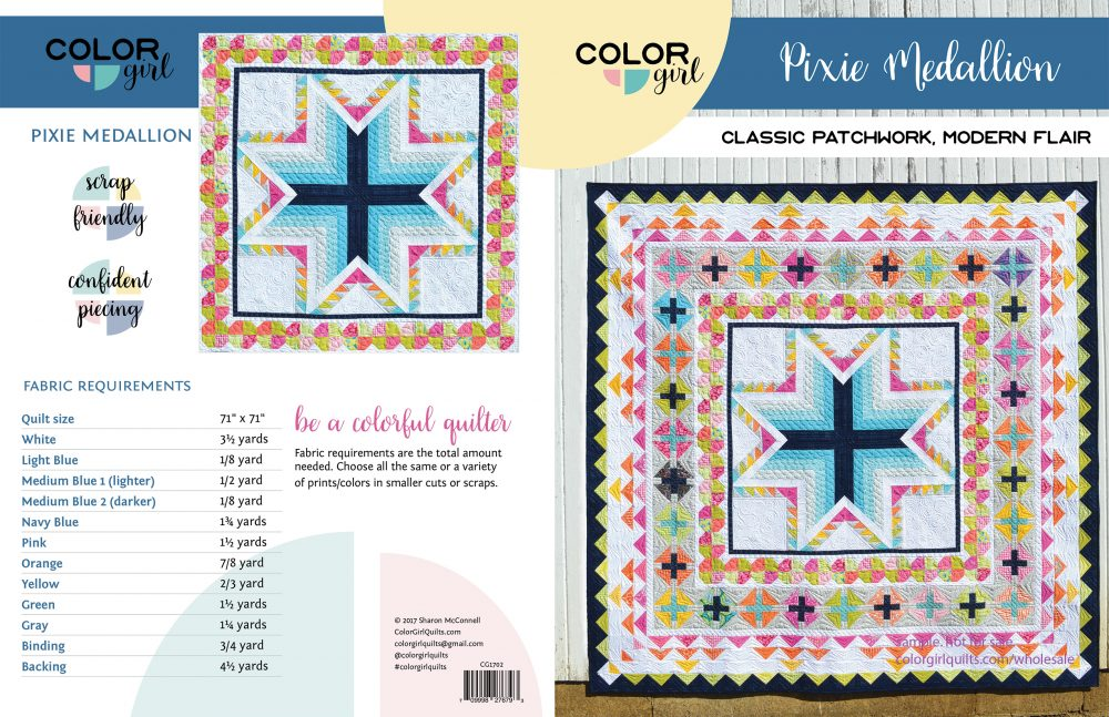 Pixie medallion quilt patten cover. Modern medallion quilt pattern
