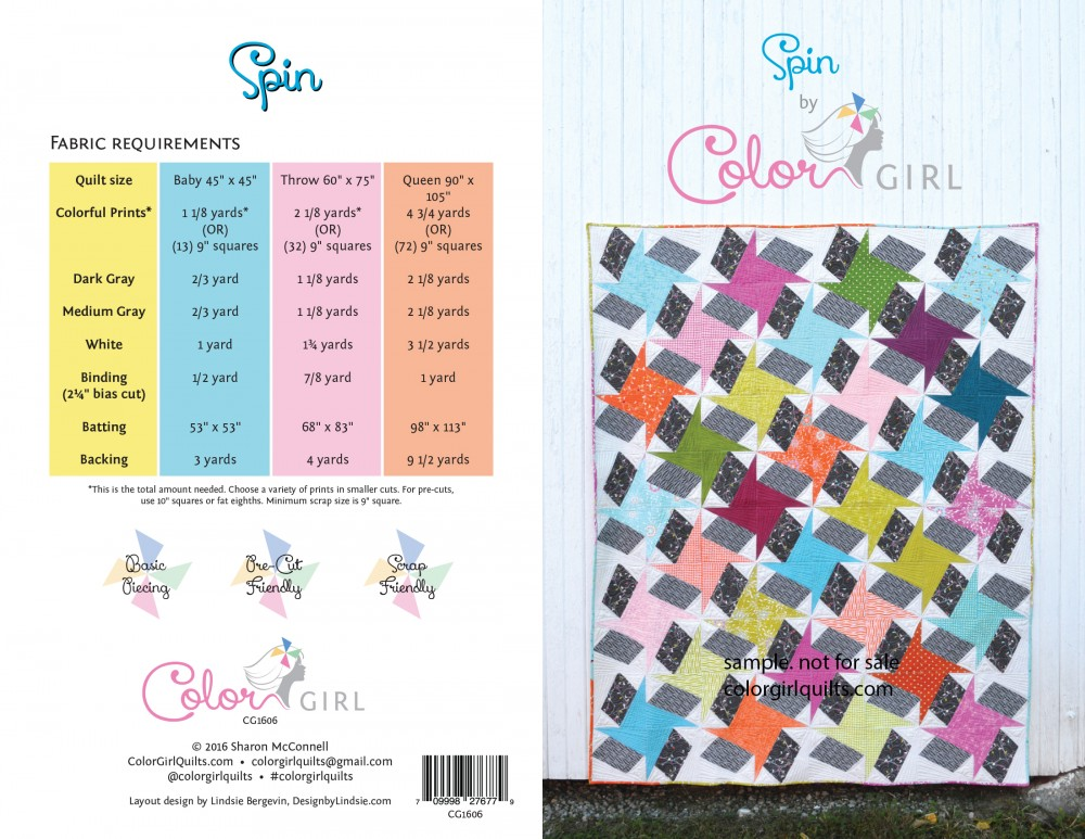 Spin star quilt pattern by Sharon McConnell Color Girl Quilts
