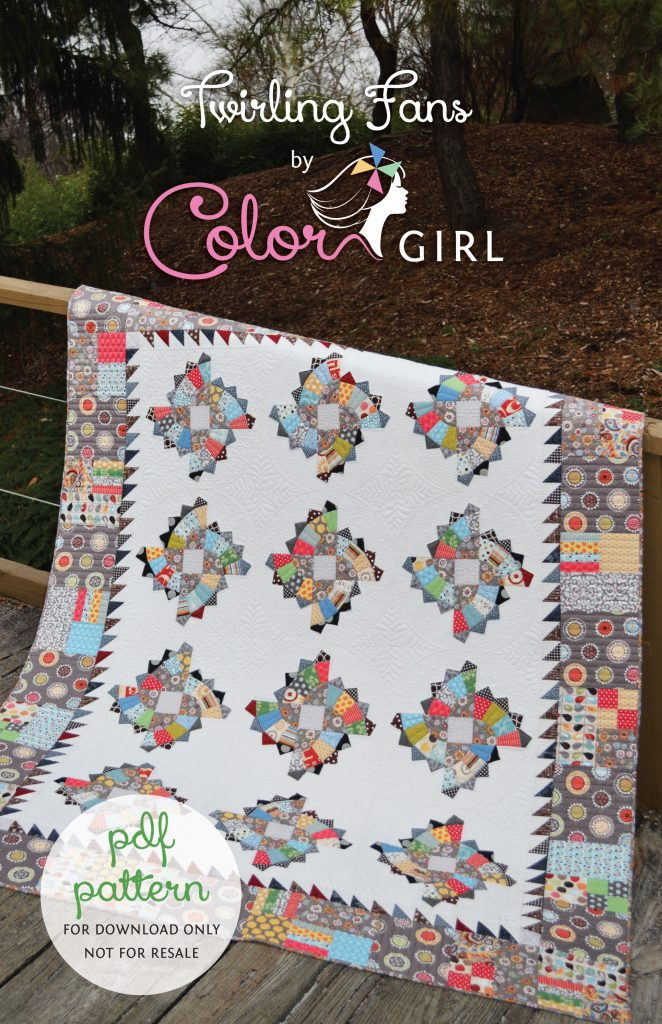 Twirling fans quilt pattern by Sharon McConnell, modern tradition fan quilt