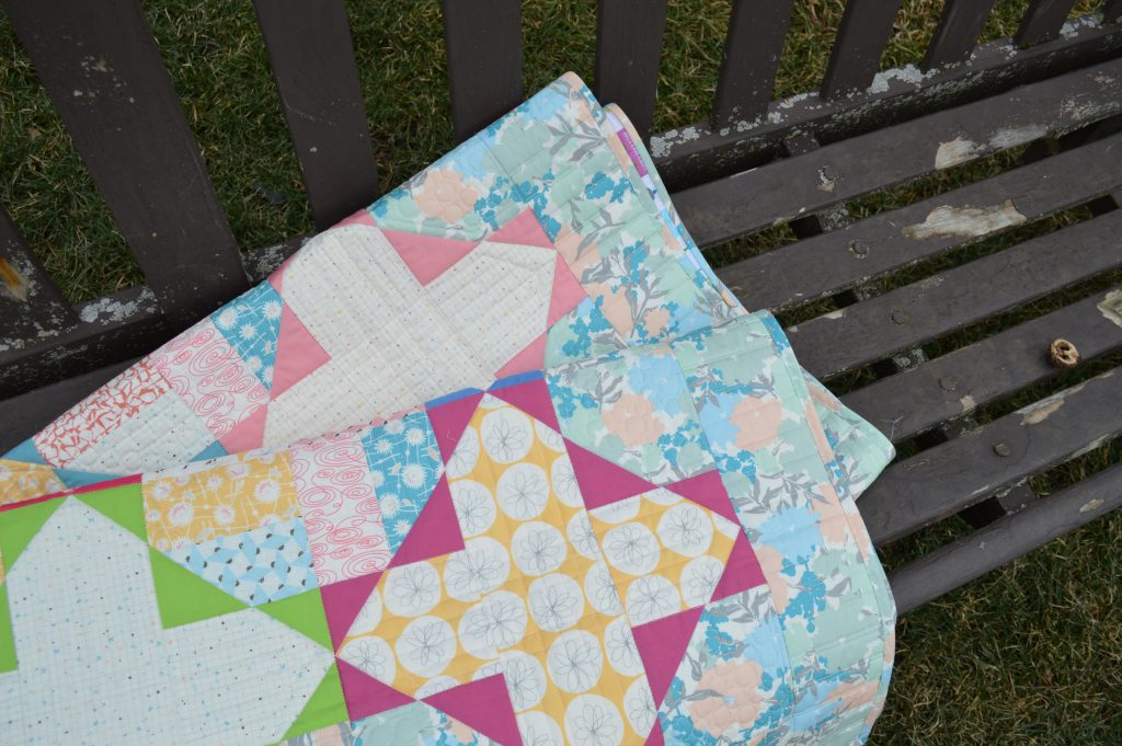 Gossamer quilt patchwork by Sharon McConnell, fabrics by Art Gallery Fabrics