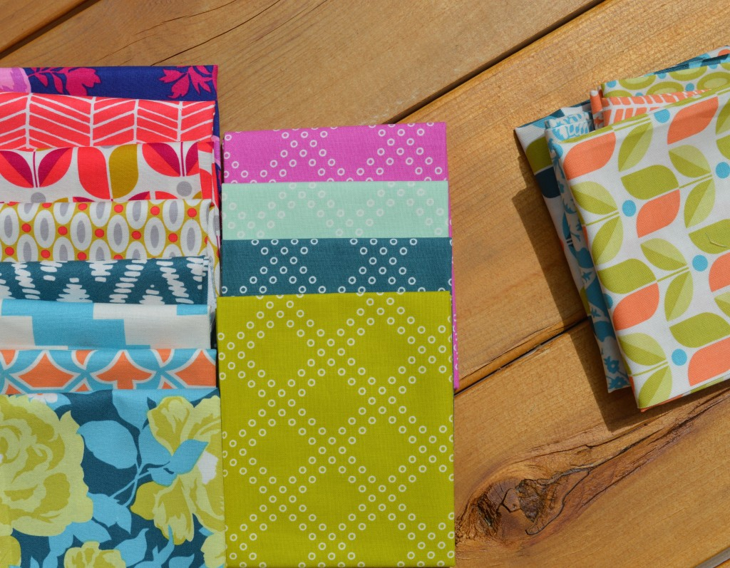 Flora Fabrics by Joel Dewberry for Free Spirit fabrics with basics by cotton and steel fabrics