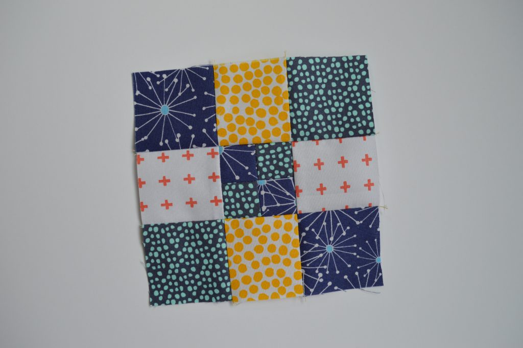 how to make super simple modern quilt sampler with nine patch squares