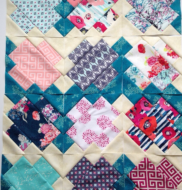 Jumping Jacks quilt pattern in skopelos fabric for Art Gallery Fabrics