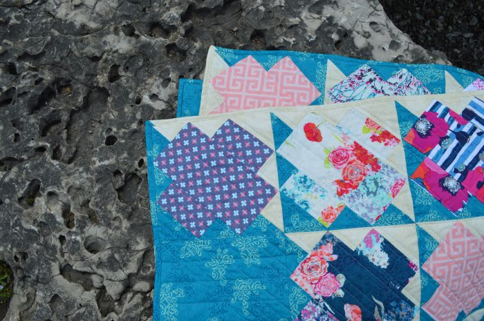 Jumping Jacks quilt by Color Girl, Sharon McConnell, with fabrics by Art Gallery Fabrics, skopelos