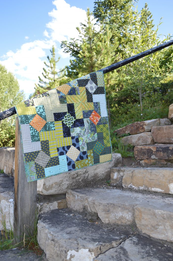 Dutch Windmill quilt pattern by color girl using Free Spirit Fabrics