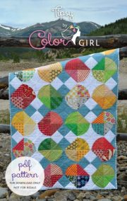 TipsyByColorGirl modern curved quilting pattern with scrappy fabrics