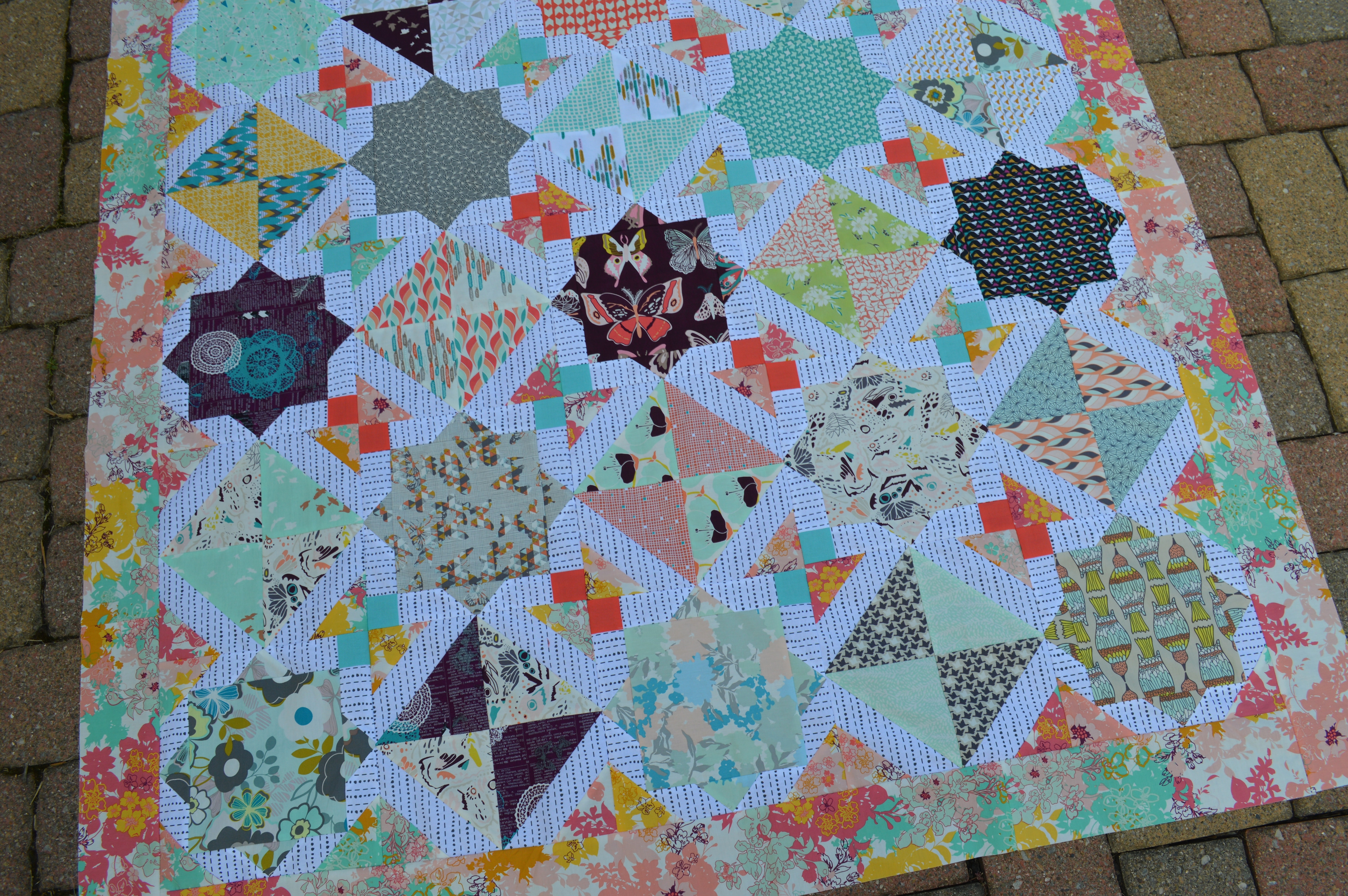 Talia Quilt top featuring art gallery fabrics. pattern by Sharon McConnell