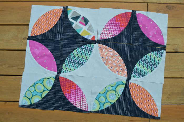 Eclipse quilt piecing, pattern by Sharon McConnell, colorgirlquilts, using fabrics by Tula Pink, Zen Chic, Cotton and Steel