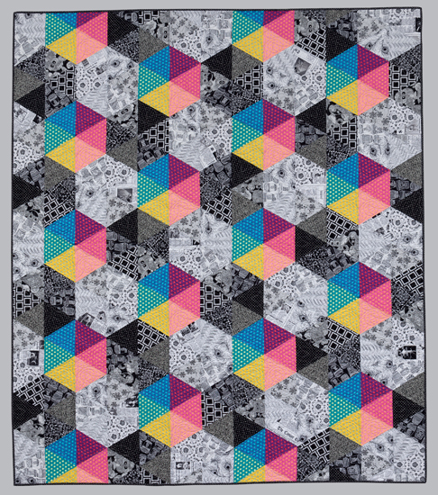 "black and white and colorful quilt by Jackie Kunkel, pattern in book, ""splash of color"""