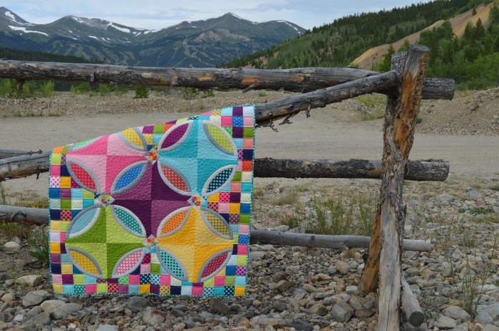 Polka Dot Bikini quilt by Sharon McConnell using Kona cotton solids fabrics