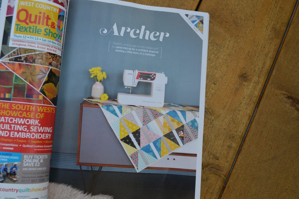 quilt now magazine issue 15 featuring Archer Quilt by Sharon McConnell, fabrics by Art Gallery fabrics