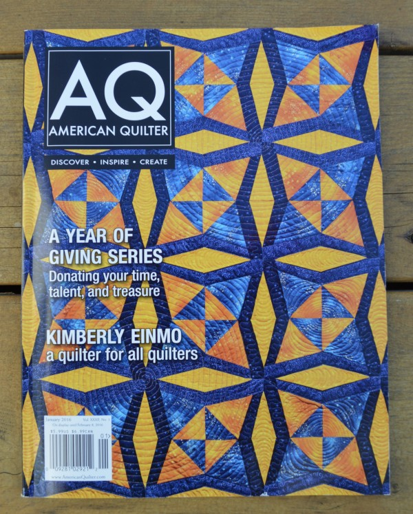 AQ quilting magazine 2015 featuring Skopelos quilt by Sharon McConnell