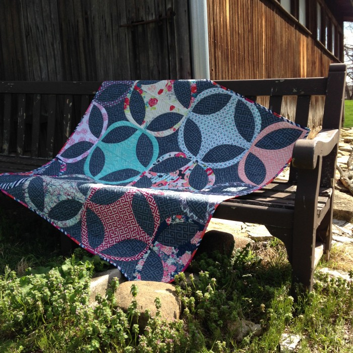 Skopelos quilt pattern with curved piecing by Sharon McConnell