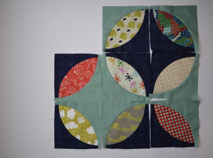 Orange Peel quilt blocks with Cotton and Steel fabrics