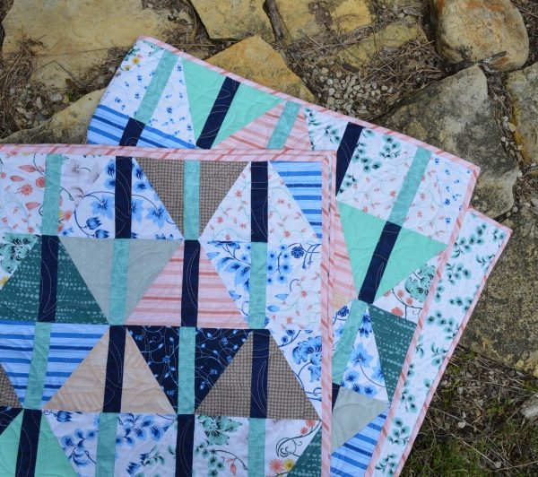 Archer Quilt pattern with Hoffman fabrics prints, by Sharon McConnell