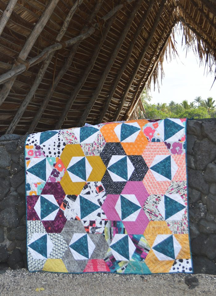 Trillium quilt by Sharon McConnell, hexagons and triangles, modern patchwork quilt