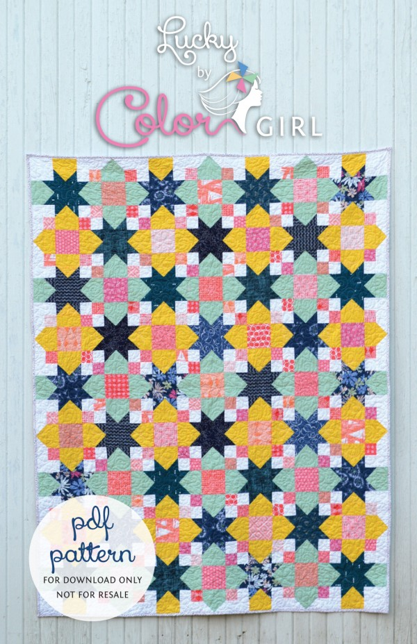 Lucky quilt pattern by Sharon McConnell with Art Gallery Fabrics, Star scrappy quilt