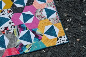 Trillium Quilt modern hexagon quilt pattern by Color Girl quilts