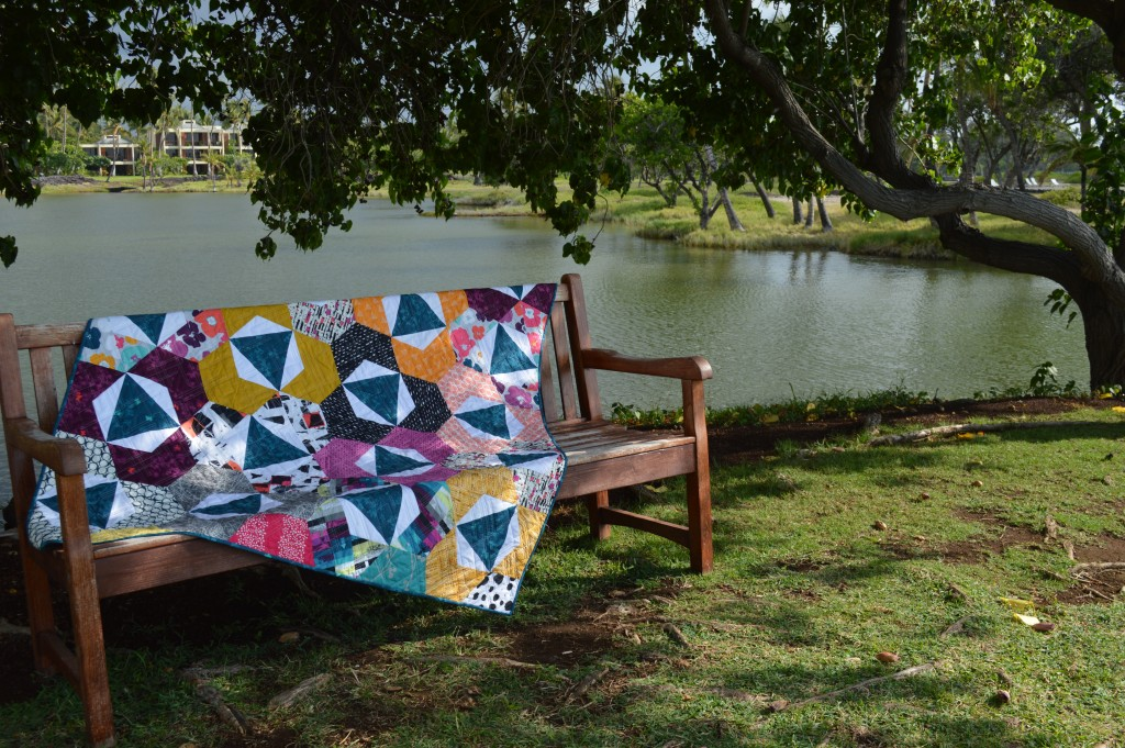Trillium modern hexagon patchwork quilt by Color Girl Quilts