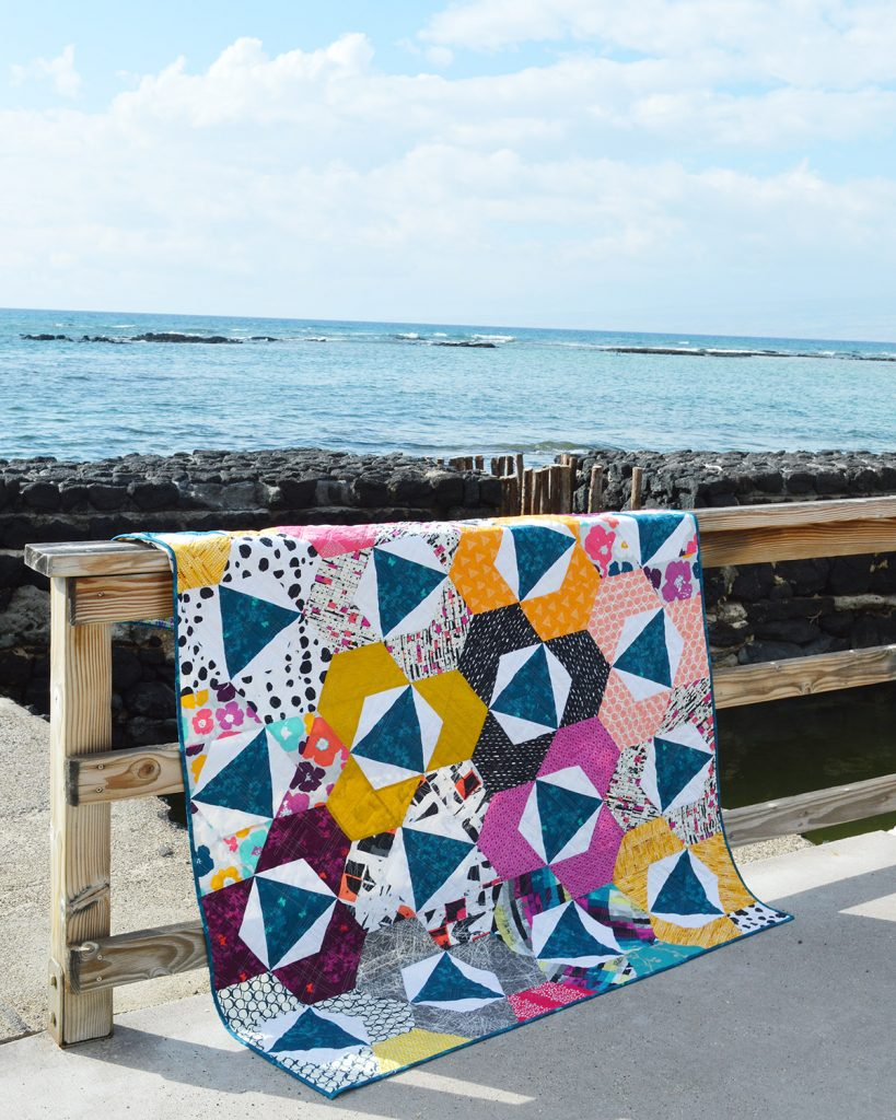 Trillium hexagon Quilt modern quilt pattern by Color Girl quilts