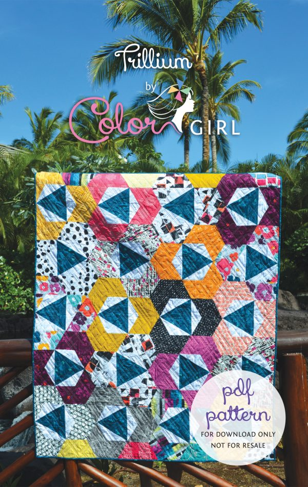 Trillium Quilt Pattern cover, modern quilt pattern with hexagons by Color girl quilts