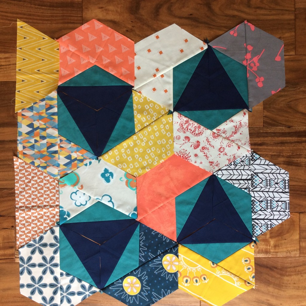 Trillium quilt pattern by Color Girl Sharon McConnell with fabrics by Art Gallery Fabrics