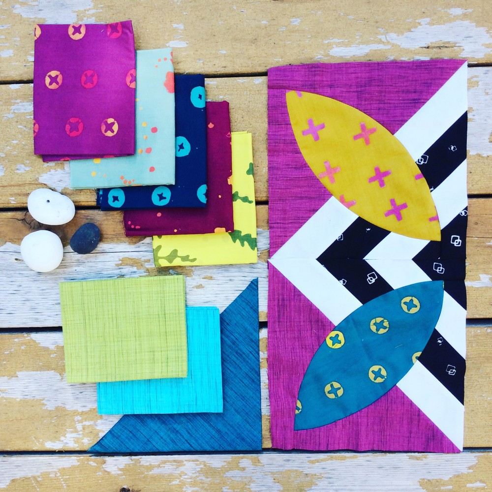 Summer Bloom quilt in progress with Alison Glass fabric and cross weave solids